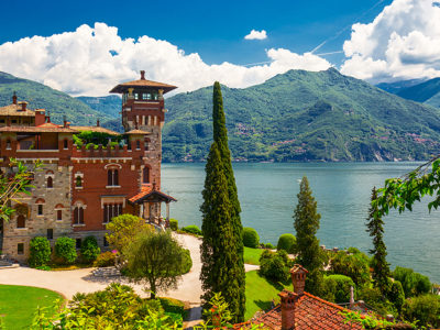 Lake Como, Italy, Europe. Villa was used for film scane in movie