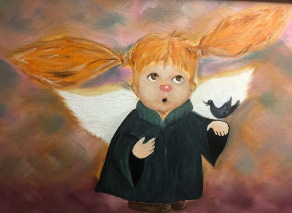 Ангелочек с птицей Ученица Сары Евгения холст картон 30х40 УЧУН010 Цена 1150р