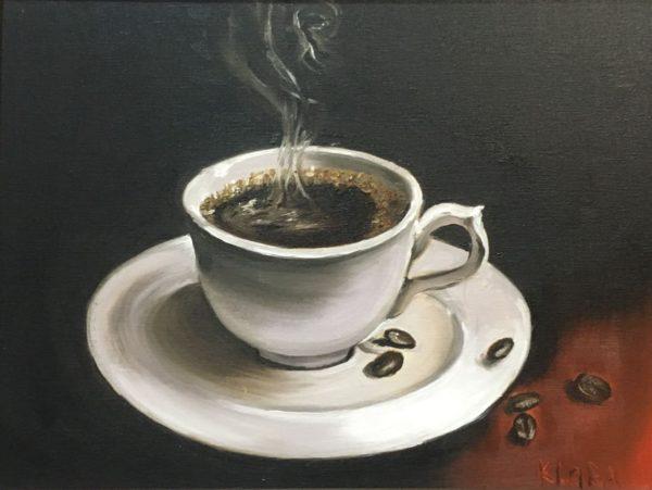 Ароматный кофе Ученица Харламова Лариса холст картон 30х40УЧУН001 Цена 2300